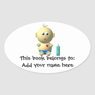 BOUNCING BABY BOY WITH 1 BOTTLE OVAL STICKER