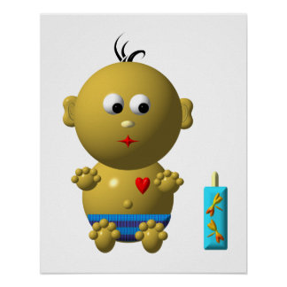 BOUNCING BABY BOY WITH 1 BOTTLE POSTER