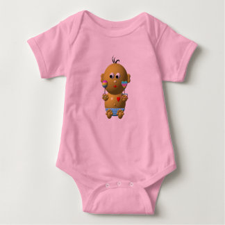 Bouncing baby boy with 2 rattles baby bodysuit