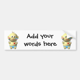 Bouncing baby boy with 2 rattles bumper sticker