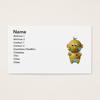 Bouncing baby boy with 2 rattles business card