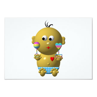 Bouncing baby boy with 2 rattles card