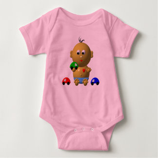 BOUNCING BABY BOY WITH 3 TOY CARS BABY BODYSUIT