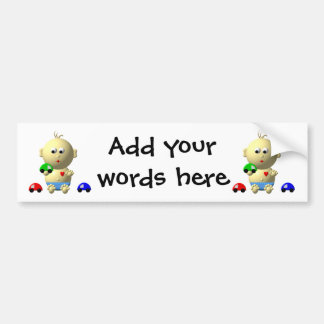 BOUNCING BABY BOY WITH 3 TOY CARS BUMPER STICKER