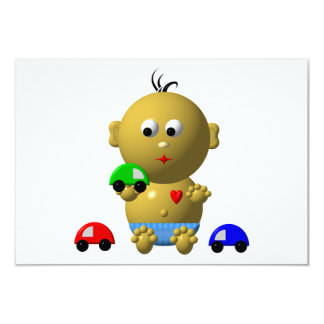 BOUNCING BABY BOY WITH 3 TOY CARS CARD