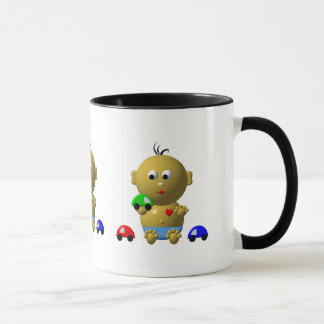BOUNCING BABY BOY WITH 3 TOY CARS MUG