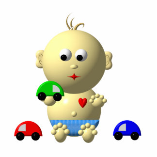 BOUNCING BABY BOY WITH 3 TOY CARS PHOTO CUT OUTS