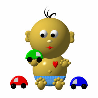 BOUNCING BABY BOY WITH 3 TOY CARS PHOTO CUT OUT