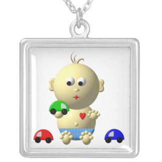 BOUNCING BABY BOY WITH 3 TOY CARS SQUARE PENDANT NECKLACE