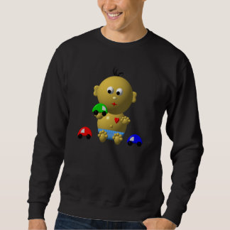 BOUNCING BABY BOY WITH 3 TOY CARS SWEATSHIRT