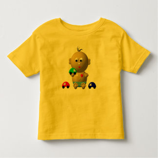 BOUNCING BABY BOY WITH 3 TOY CARS TODDLER T-SHIRT