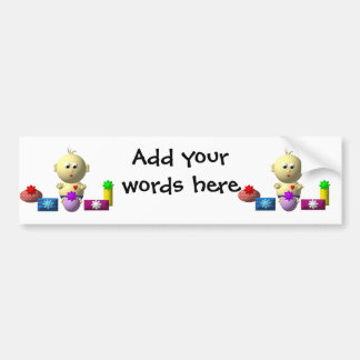 BOUNCING BABY BOY WITH 5 PRESENTS BUMPER STICKER