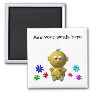 BOUNCING BABY BOY WITH 7 FLOWERS 2 INCH SQUARE MAGNET
