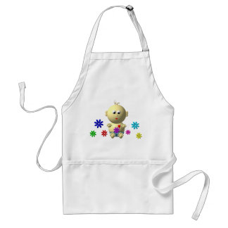 BOUNCING BABY BOY WITH 7 FLOWERS ADULT APRON