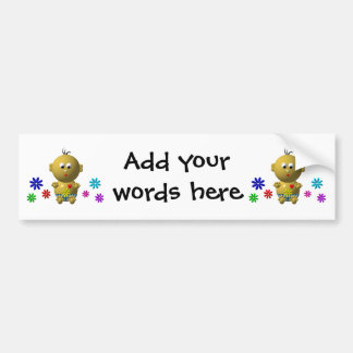 BOUNCING BABY BOY WITH 7 FLOWERS CAR BUMPER STICKER