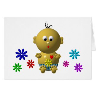 BOUNCING BABY BOY WITH 7 FLOWERS CARD
