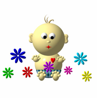 BOUNCING BABY BOY WITH 7 FLOWERS CUTOUT