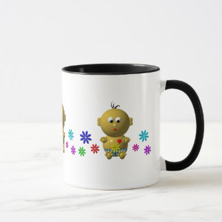 BOUNCING BABY BOY WITH 7 FLOWERS MUG