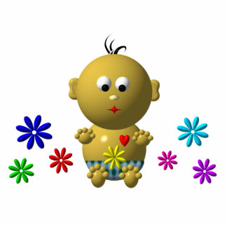 BOUNCING BABY BOY WITH 7 FLOWERS STATUETTE