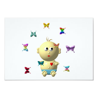 BOUNCING BABY BOY WITH 9 BUTTERFLIES CARD