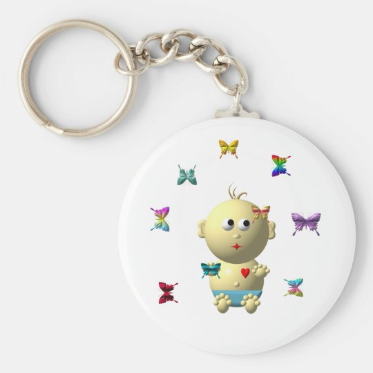 BOUNCING BABY BOY WITH 9 BUTTERFLIES KEYCHAIN