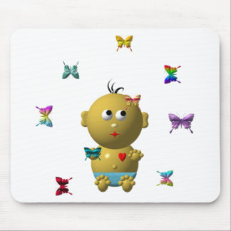 BOUNCING BABY BOY WITH 9 BUTTERFLIES MOUSE PAD