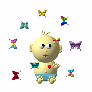 BOUNCING BABY BOY WITH 9 BUTTERFLIES STATUETTE