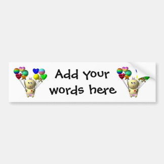 BOUNCING BABY GIRL WITH 10 BALLOONS BUMPER STICKER