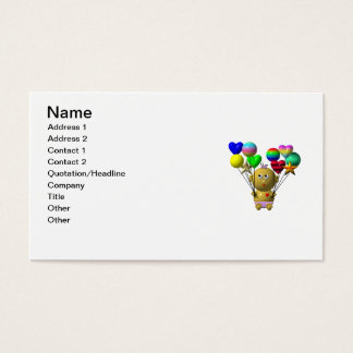 BOUNCING BABY GIRL WITH 10 BALLOONS BUSINESS CARD