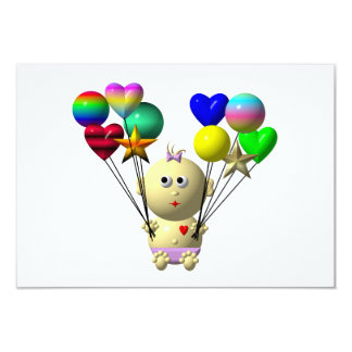 BOUNCING BABY GIRL WITH 10 BALLOONS CARD