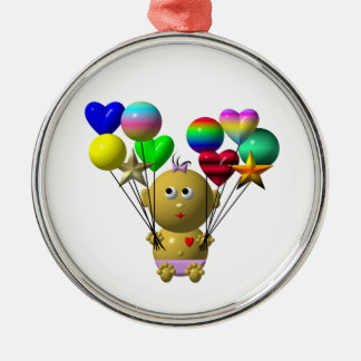 BOUNCING BABY GIRL WITH 10 BALLOONS METAL ORNAMENT