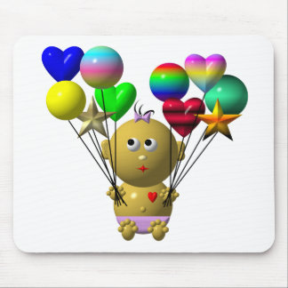 BOUNCING BABY GIRL WITH 10 BALLOONS MOUSE PAD