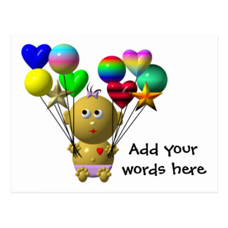 BOUNCING BABY GIRL WITH 10 BALLOONS POSTCARD