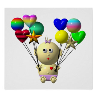 BOUNCING BABY GIRL WITH 10 BALLOONS POSTER