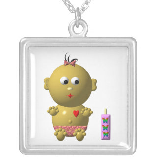 BOUNCING BABY GIRL WITH 1 BOTTLE CUSTOM NECKLACE