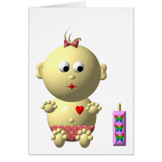 BOUNCING BABY GIRL WITH 1 BOTTLE GREETING CARDS