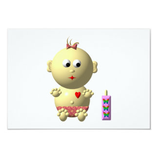 BOUNCING BABY GIRL WITH 1 BOTTLE PERSONALIZED ANNOUNCEMENTS