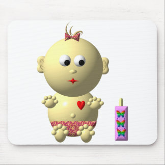 BOUNCING BABY GIRL WITH 1 BOTTLE MOUSE PAD
