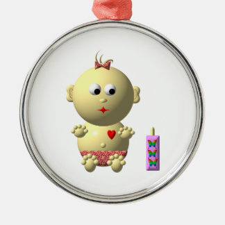 BOUNCING BABY GIRL WITH 1 BOTTLE CHRISTMAS TREE ORNAMENT