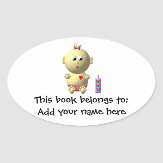 BOUNCING BABY GIRL WITH 1 BOTTLE OVAL STICKER