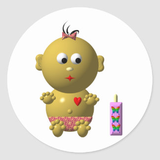 BOUNCING BABY GIRL WITH 1 BOTTLE ROUND STICKERS