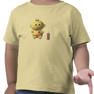 BOUNCING BABY GIRL WITH 1 BOTTLE TEE SHIRTS