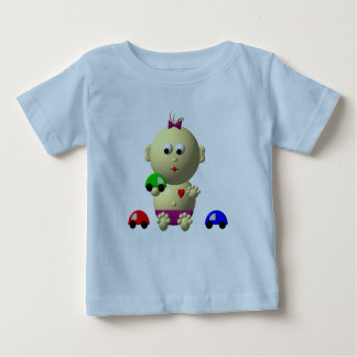 BOUNCING BABY GIRL WITH 3 TOY CARS BABY T-Shirt