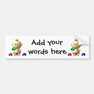 BOUNCING BABY GIRL WITH 3 TOY CARS BUMPER STICKER