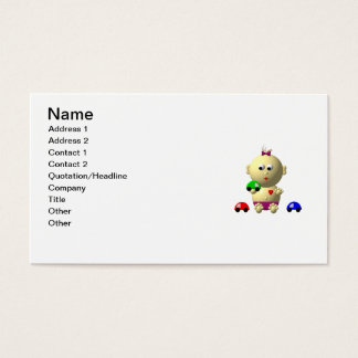BOUNCING BABY GIRL WITH 3 TOY CARS BUSINESS CARD