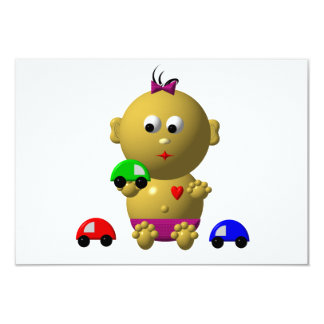 BOUNCING BABY GIRL WITH 3 TOY CARS CARD