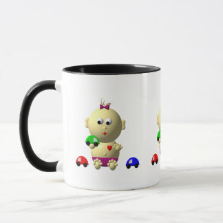 BOUNCING BABY GIRL WITH 3 TOY CARS MUG