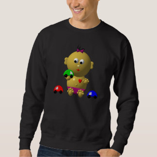 BOUNCING BABY GIRL WITH 3 TOY CARS SWEATSHIRT