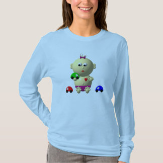 BOUNCING BABY GIRL WITH 3 TOY CARS T-Shirt