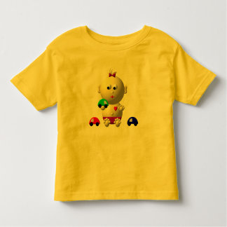 BOUNCING BABY GIRL WITH 3 TOY CARS TODDLER T-SHIRT